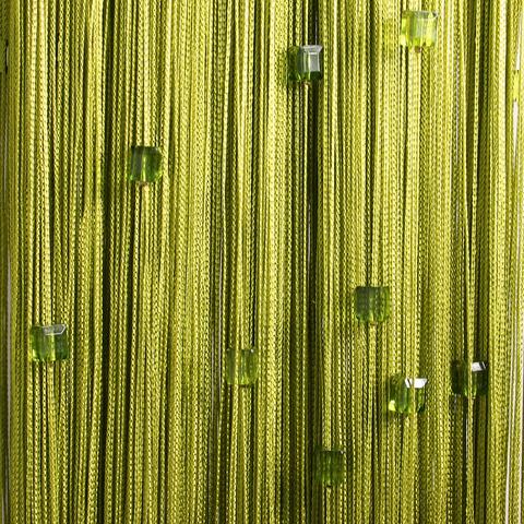 Шторы нити со стеклярусом (кубики) - Оливковые. Ш-300см., В-280см. Арт.19