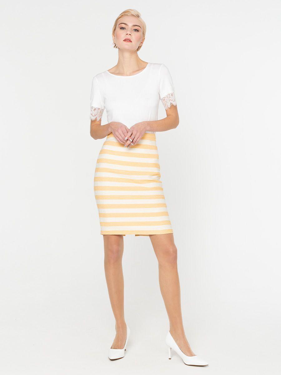 Юбка Б074-581 - Прямая юбка из фактурной ткани. Горизонтальная, модная в этом сезоне, полоска смотрится стильно и необычно.