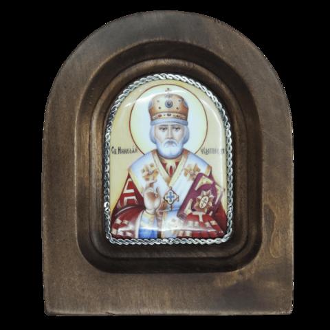 Икона финифть Николай Чудотворец деревянная арка 01