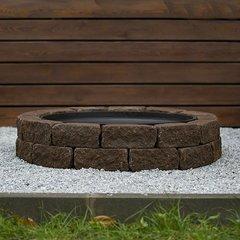 Чаша для костра Concretika iron P100 на основании из состаренного бетона 2 уровня кладки