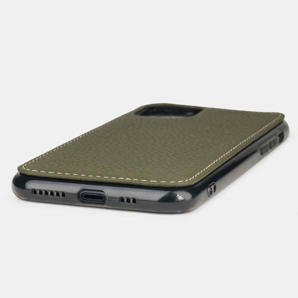Чехол-накладка для iPhone 11 Pro из натуральной кожи теленка, зеленого цвета