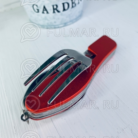 Туристический походный складной нож с вилкой и ложкой в чехле Красный