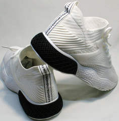 Массивные белые кроссовки с белой подошвой женские El Passo KY-5 White.