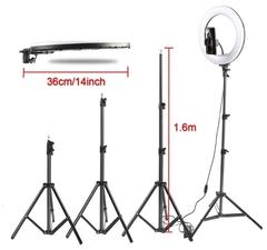 кольцевой светодиодный led-светильник 36 см 3 режима света с пультом и штативом