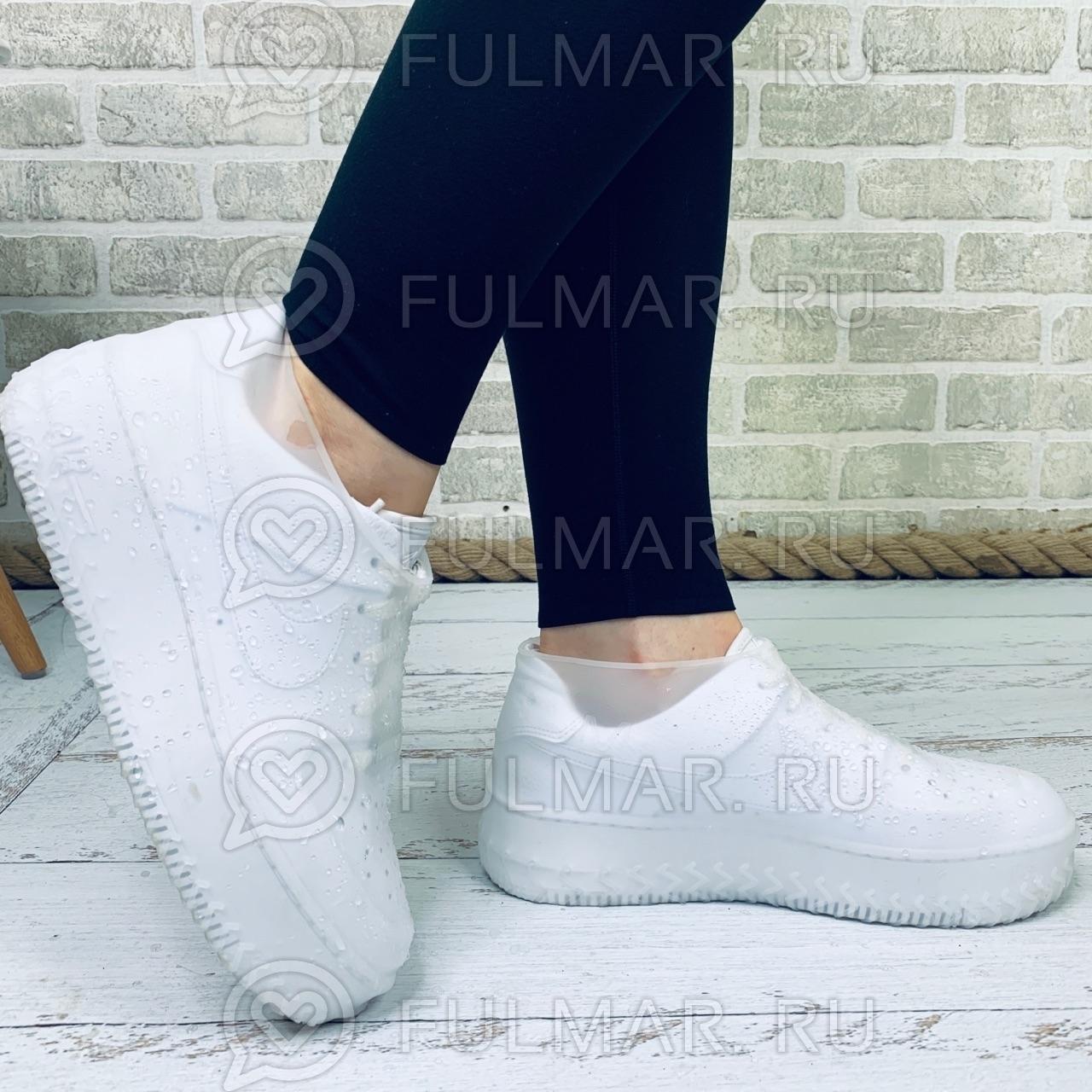 Бахилы для обуви от дождя Антискользящие Водонепроницаемые Силиконовые многоразовые Белые Прозрачные фото