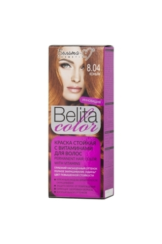 Белита-М Belita Color Стойкая краска с витаминами для волос тон №8.04 Коньяк