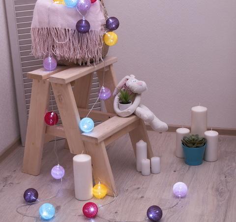 Ночник гирлянда Клубки шарики Мульти d-6 см, 5 м