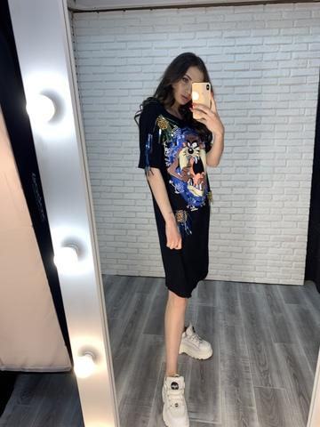 свободное черное платье до колен купить