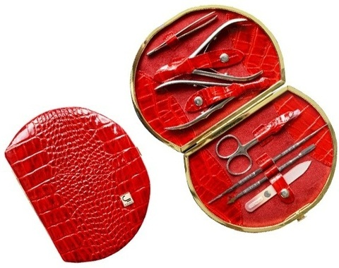 Маникюрный набор СТАЛЕКС НМ-07/2 «Рамка профессиональная», 7 предметов. Натуральная кожа, ручная заточка. Цвет № 86