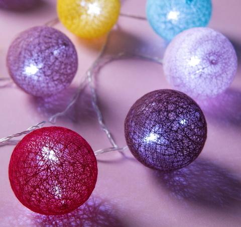Гирлянда Клубки шарики Мульти d-6 см, 5 м