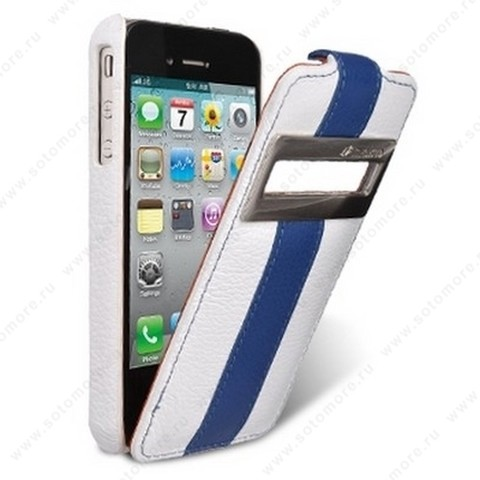 Чехол-флип Melkco для iPhone 4s/ 4 Leather Case Jacka ID Type Limited Edition (White/Blue LC)