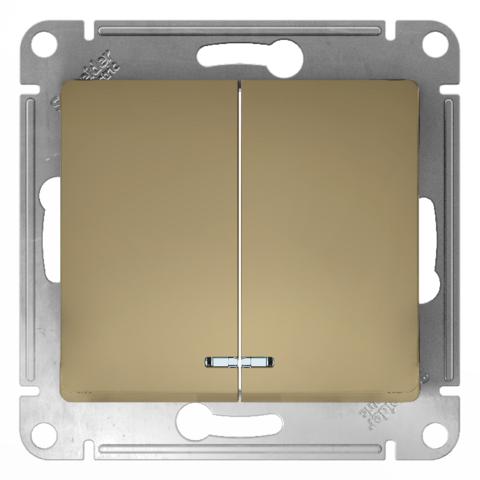 Выключатель двухклавишный с подсветкой, 10АХ. Цвет Титан. Schneider Electric Glossa. GSL000453