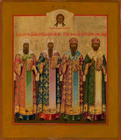 Икона четыре митрополита Московских на дереве на левкасе