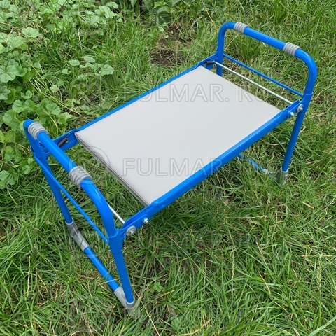 Раскладная скамейка для садовода Перевертыш нагрузка до 100 кг 56х30х42,5 Голубая