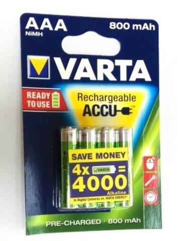 56703 Аккумулятор к-т4 VARTA AAA R2U 800mAh 1/10/50