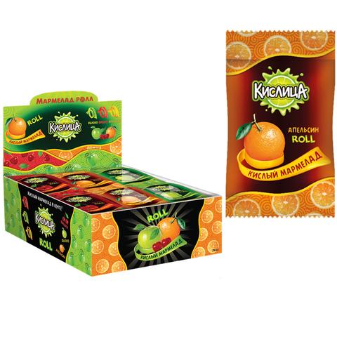 Кислица, кислый мармелад (ролл) ассорти вкусов (апельсин, вишня, яблоко) 1кор*24бл*24шт 10г
