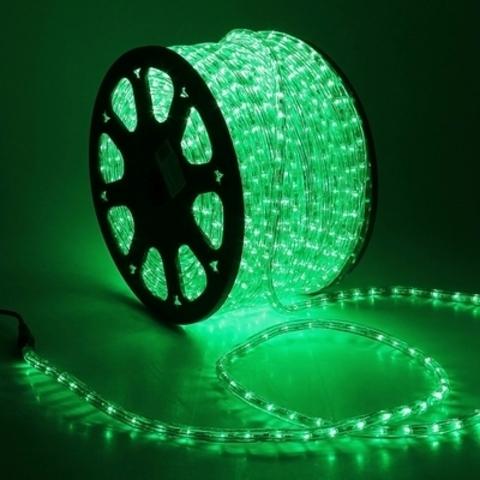 Дюралайт светодиодный, трехпроводной, круглый 13 мм, Зеленый, 36 LED/м, кратность резки 2 метра