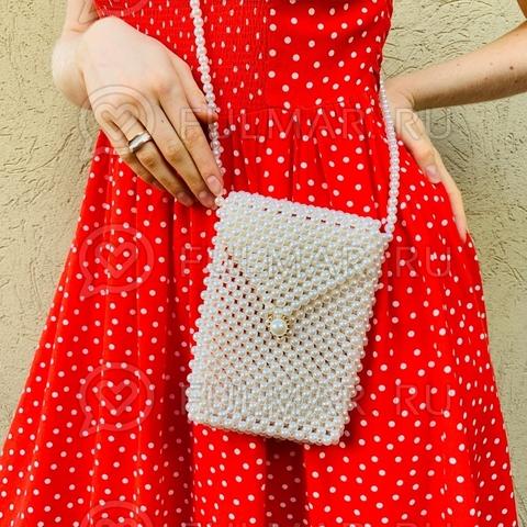 Мини-сумка летняя винтажный стиль через плечо искусственный жемчуг Lady