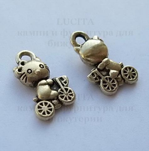 """Подвеска """"Китти на велосипеде"""" 12х8 мм (цвет - античное золото)"""