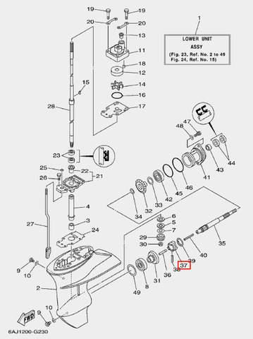 Муфта сцепления для лодочного мотора F20 Sea-PRO (23-37)