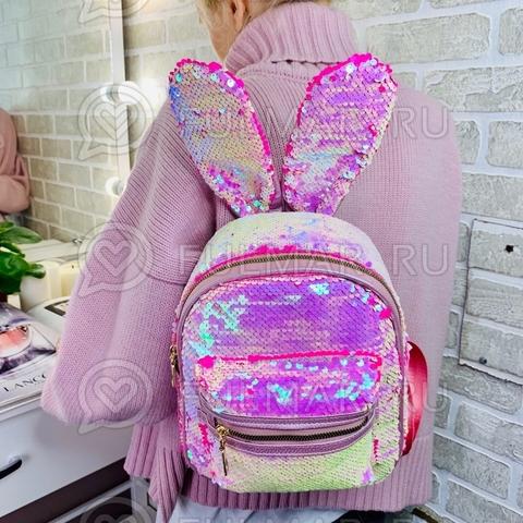 Рюкзак с ушами зайца в пайетках меняет цвет Перламутровый блестящий-Малиновый матовый