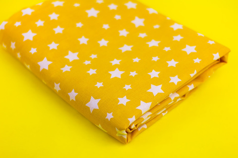 Ткань хлопок, Let's make отрез 30х40 см. Рисунок - белые звездочки на желтом 310677202