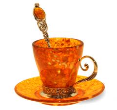 """Янтарная кофейная чашка в наборе из 3 предметов, серия """"Антик"""""""