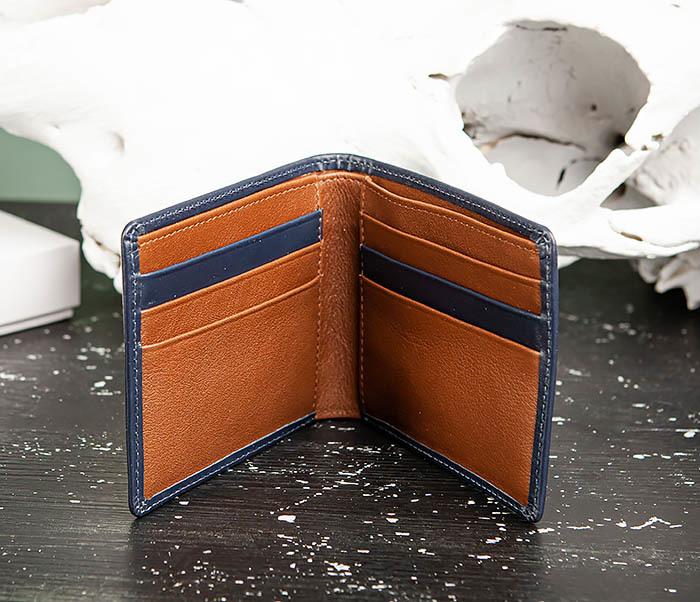 WL320-3 Классический кошелек для купюр и карт из синей кожи, «Moriz» фото 03