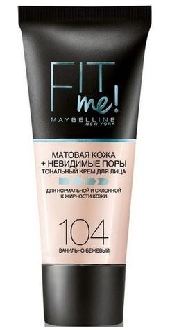 Maybelline Fit Me тональный крем матовая кожа + невидимые поры №104 ваниль-беж