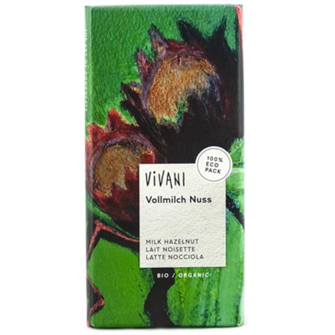 VIVANI Шоколад молочный с дробленым лесным орехом. Vivani, 100 г