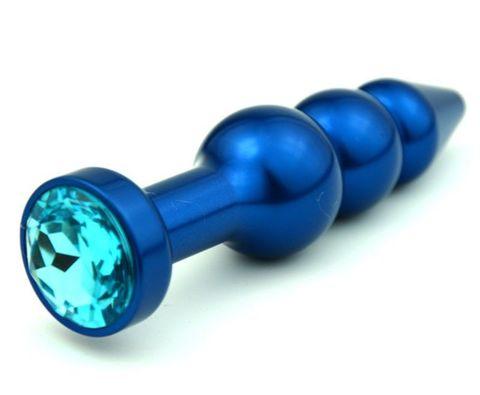 Пробка металл фигурная елочка синяя с голубым стразом 11,2х2,9см 47430-1MM