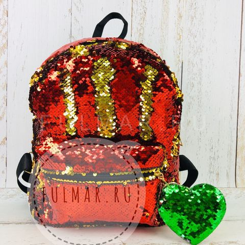 Рюкзак детский с пайетками меняющий цвет Красный-Золотистый и брелок Сердце