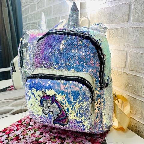 Рюкзак для девочки с рогом и ушами в двусторонних пайетках Единорог (цвет: Голубой хамелеон-Серебристый)
