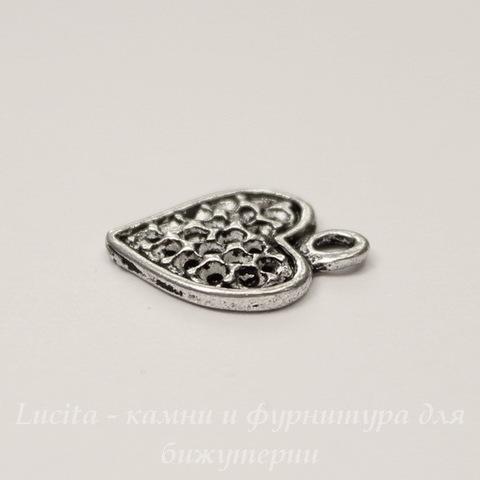 "Подвеска ""Сердечко"" (цвет - античное серебро) 15х13 мм"