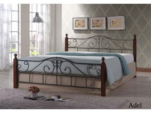 Кровать Адель двуспальная металлическая с деревянными ножками 160х200 темный орех