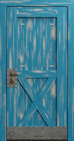 Входная дверь «Loft» в цвете, Эмаль синяя (массив сосны)