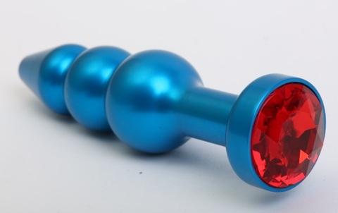 Пробка металл фигурная елочка синяя с красным стразом 11,2х2,9см 47430-2MM