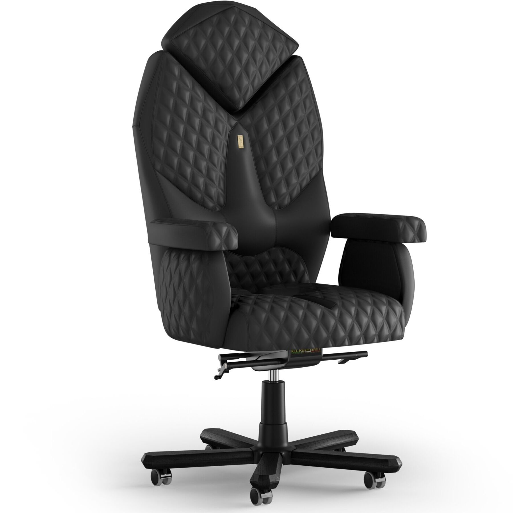 Кресло KULIK SYSTEM DIAMOND Экокожа с подголовником со строчкой