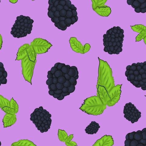Ежевика с листьями мяты на фиолетовом фоне