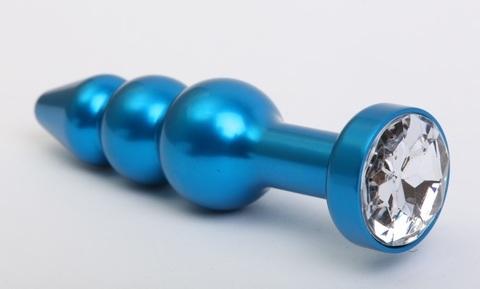 Пробка металл фигурная елочка синяя с прозрачным стразом 11,2х2,9см 47430-4MM