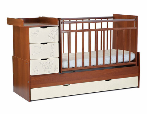 Кровать детская СКВ-5 Жираф, опуск.бок.,маятник,4 ящика. (орех-бежевый)