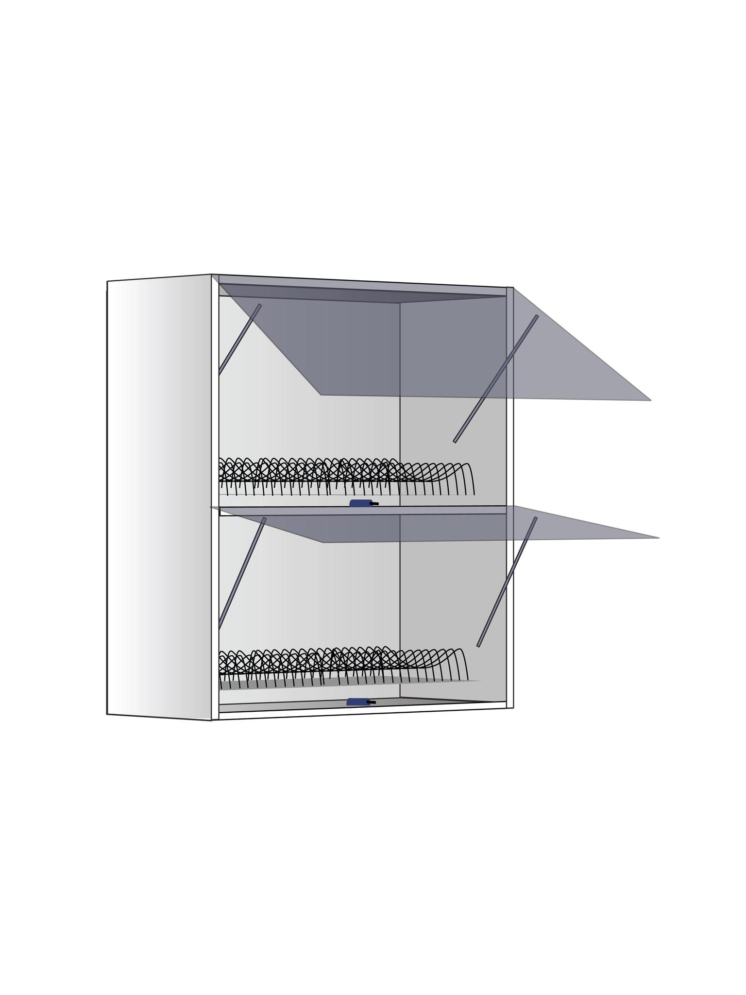 Верхний шкаф с сушилкой и газлифтами, 720Х600 мм / PushToOpen