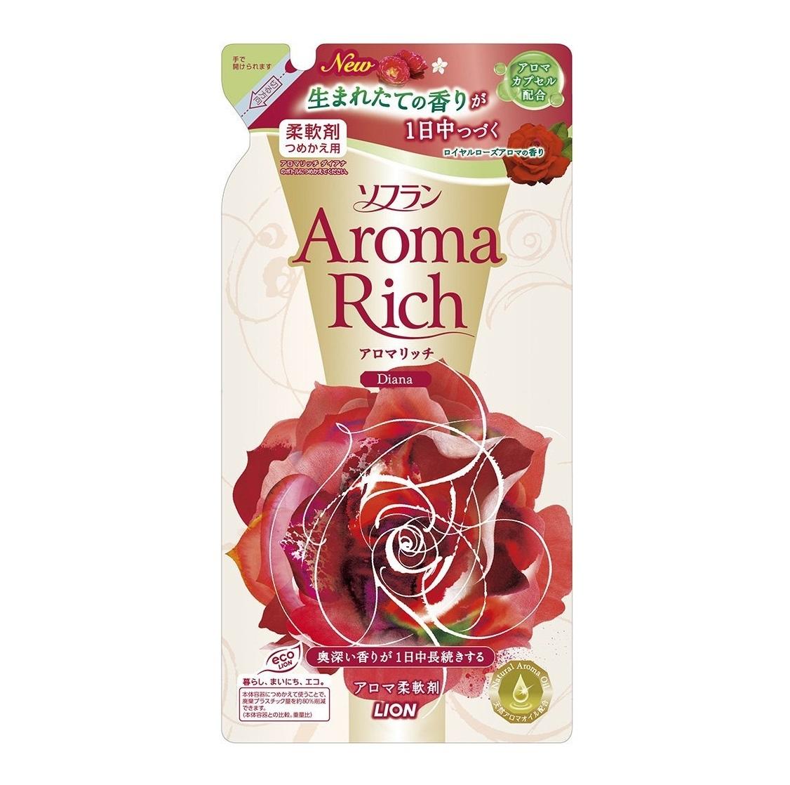 Ополаскиватель, Lion, Soflan Aroma Rich Diana, с натуральными ароматическими маслами, сменный блок, 450 мл