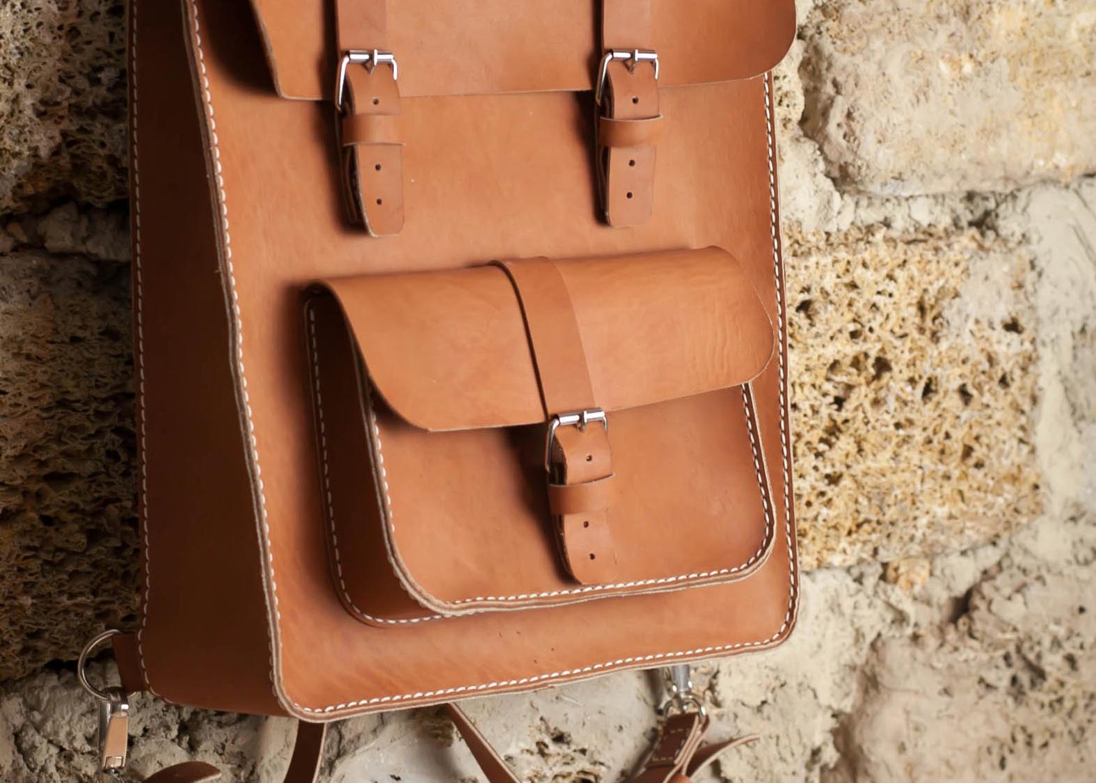 Ранец из кожи ручной работы