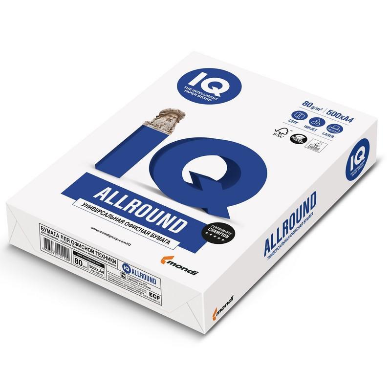 Бумага для ОфТех IQ ALLROUND (А4,80г,162%CIE) пачка 500л.