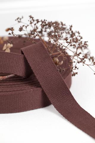 Хлопковая стропа красно-коричневая 20, 25 мм