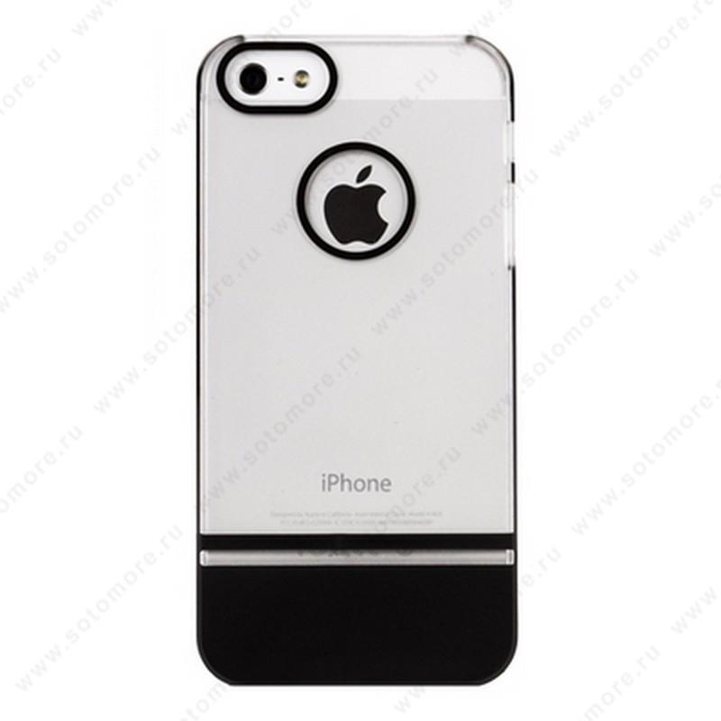 Накладка MOBILE 7 для iPhone SE/ 5s/ 5C/ 5 белый верх черный низ