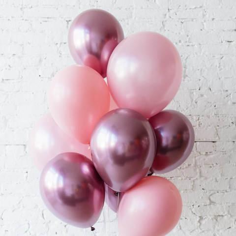 25 шаров 36 см розовый и розовый хром