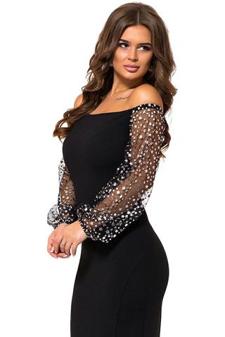Длинное вечернее платье с открытыми плечами, с блестящими серебристыми звездами 1