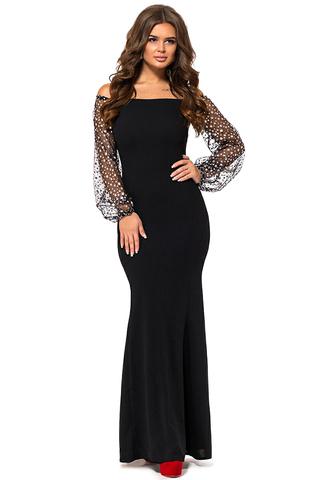 Длинное вечернее платье с открытыми плечами, с блестящими серебристыми звездами